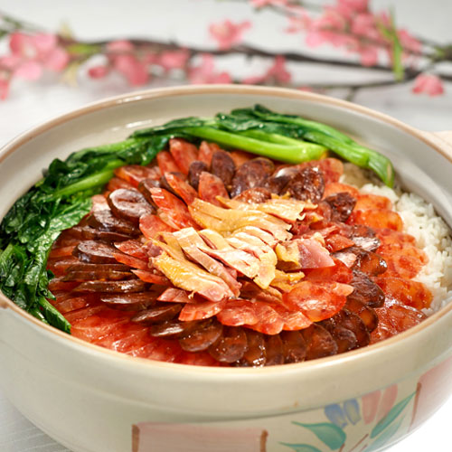 Traditional Boiled Jasmine Rice with Chinese Sausage in Claypot 上汤腊味煲饭 (for 10 persons)