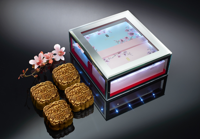 Premium Golden Baked Mooncakes in LED Mirrored Glass Box