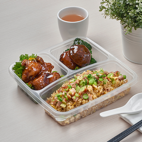 Yang Zhou Fried Rice, Honey Spare Ribs and Stir-fried Broccoli with Mushrooms /// 扬州炒饭拼蜜汁排骨和冬菇西兰花
