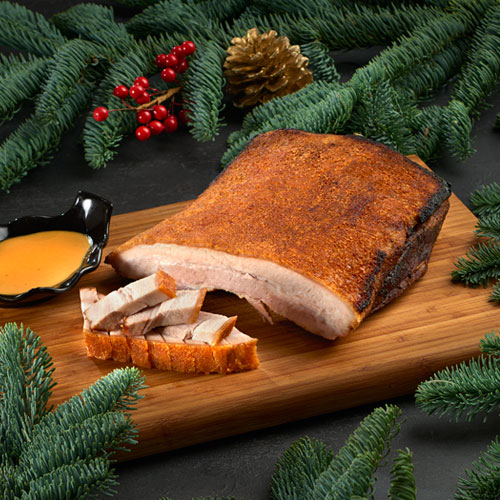 Roasted Pork Crackling served with Mustard Sauce (Approx 1 kg, Chopped)
